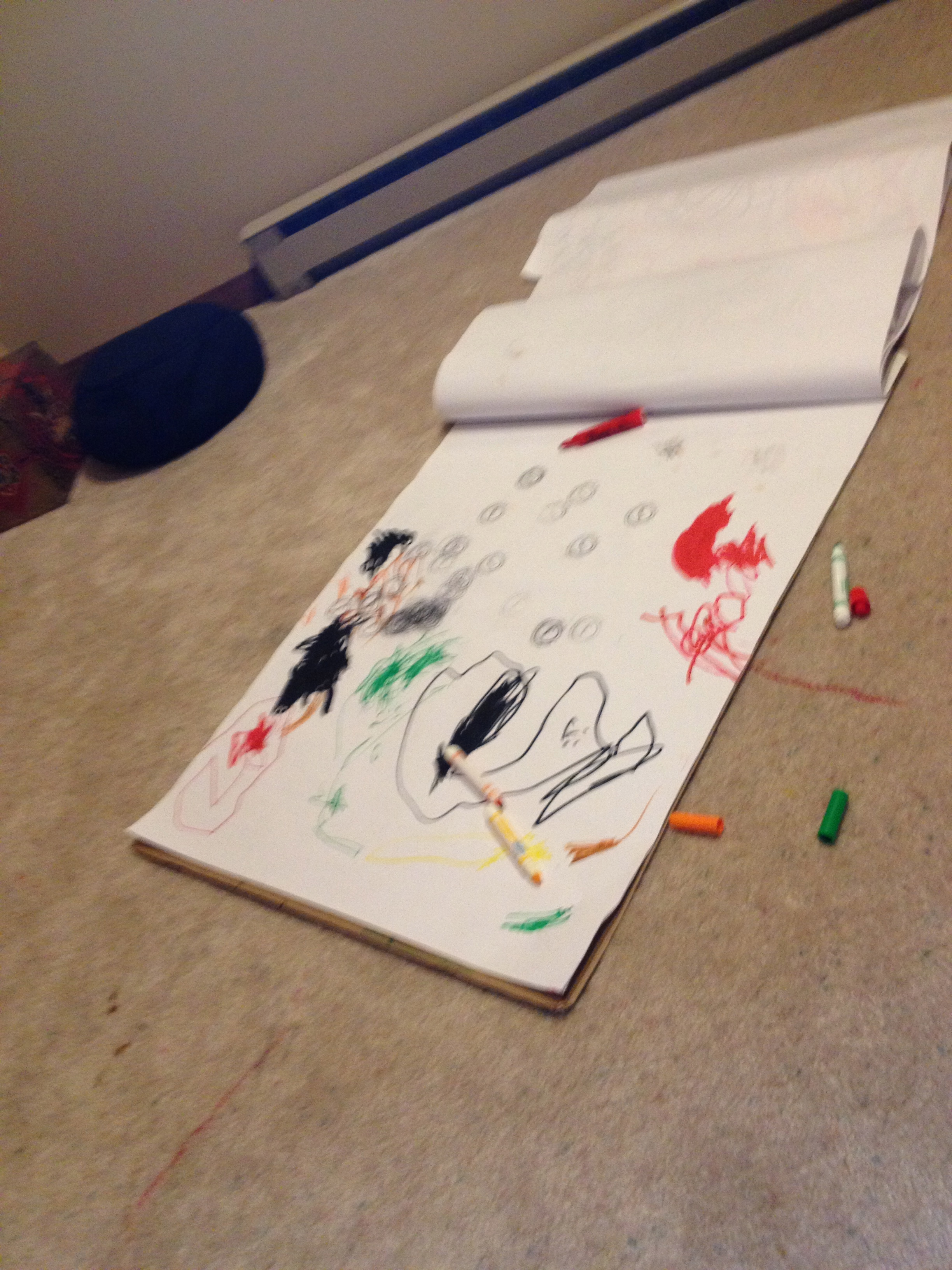 My kids loved coloring all over my giant flipchart paper (and the carpet) in my former office space.