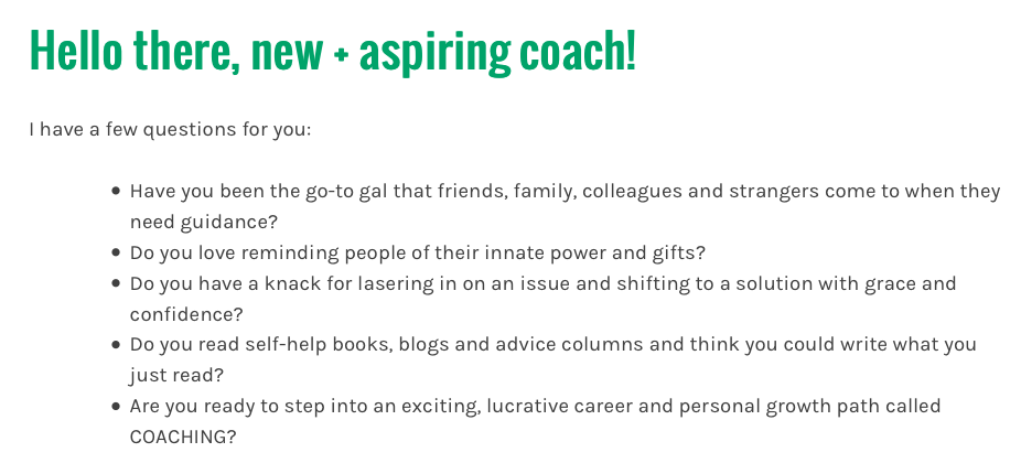 Questions on top of sales page for Get Gutsy Coach Training School.