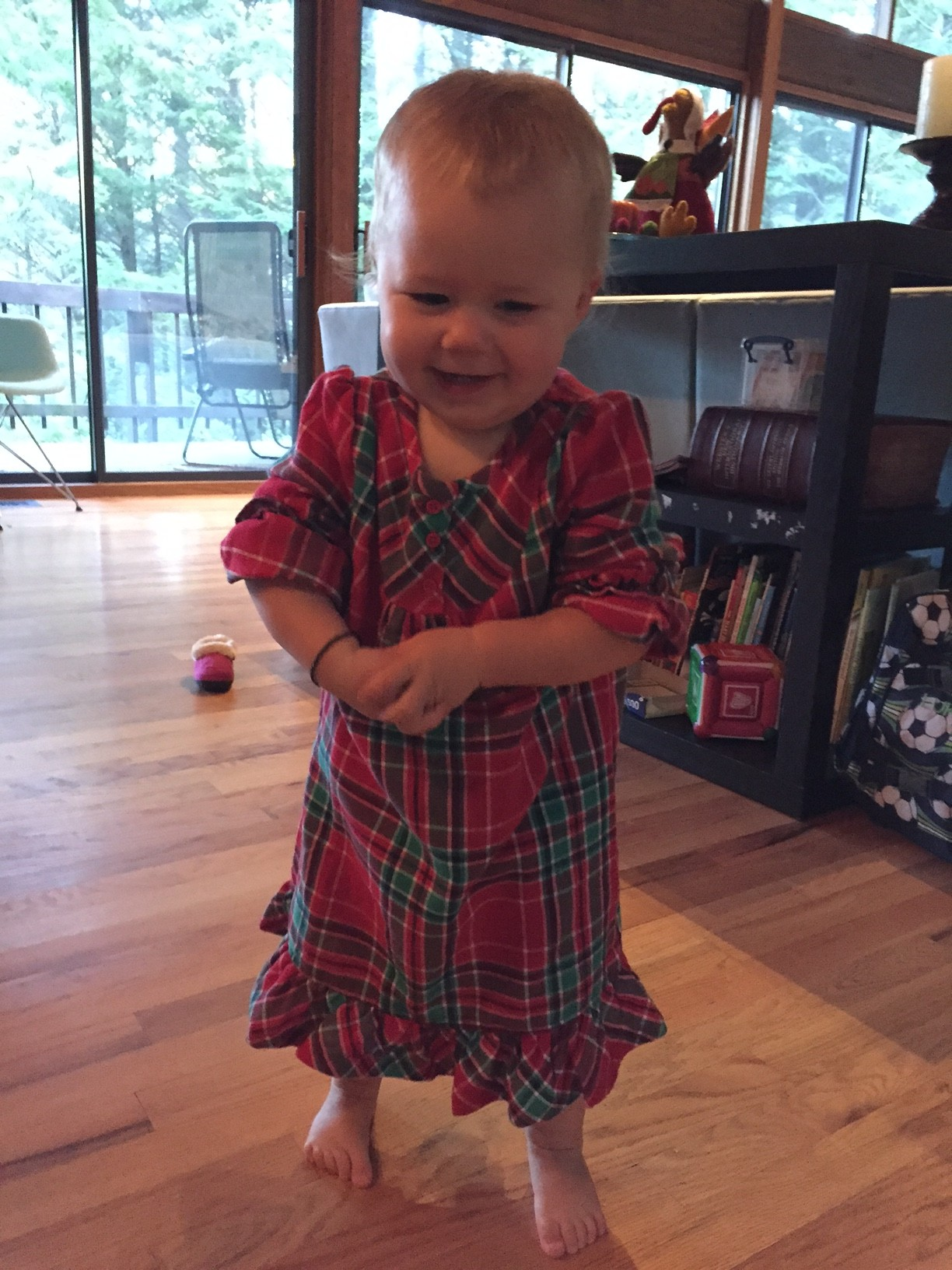 My daughter Kate sporting a new nightgown, a gift from her Grandma who also sent matching jams to my sons.